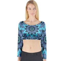 Star Connection, Abstract Cosmic Constellation Long Sleeve Crop Top