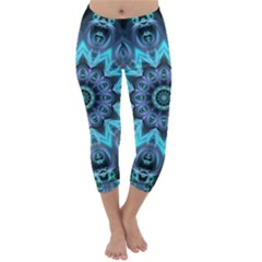 Star Connection, Abstract Cosmic Constellation Capri Winter Leggings