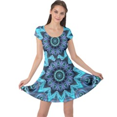 Star Connection, Abstract Cosmic Constellation Cap Sleeve Dresses