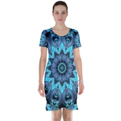 Star Connection, Abstract Cosmic Constellation Short Sleeve Nightdress