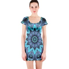 Star Connection, Abstract Cosmic Constellation Short Sleeve Bodycon Dress