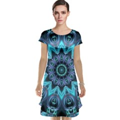 Star Connection, Abstract Cosmic Constellation Cap Sleeve Nightdress