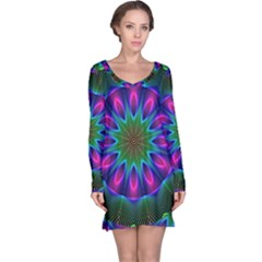 Star Of Leaves, Abstract Magenta Green Forest Long Sleeve Nightdress by DianeClancy