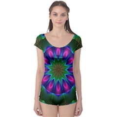 Star Of Leaves, Abstract Magenta Green Forest Boyleg Leotard (ladies) by DianeClancy