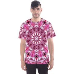 Twirling Pink, Abstract Candy Lace Jewels Mandala  Men s Sport Mesh Tee