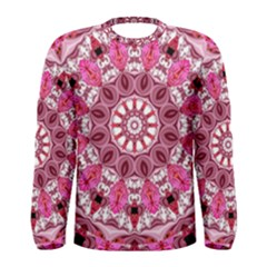 Twirling Pink, Abstract Candy Lace Jewels Mandala  Men s Long Sleeve Tee