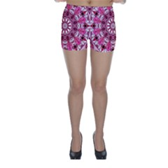 Twirling Pink, Abstract Candy Lace Jewels Mandala  Skinny Shorts