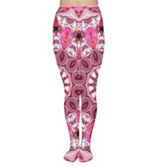 Twirling Pink, Abstract Candy Lace Jewels Mandala  Women s Tights