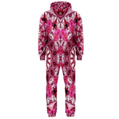 Twirling Pink, Abstract Candy Lace Jewels Mandala  Hooded Jumpsuit (men)