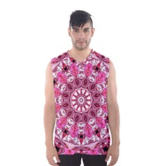 Twirling Pink, Abstract Candy Lace Jewels Mandala  Men s Basketball Tank Top by DianeClancy