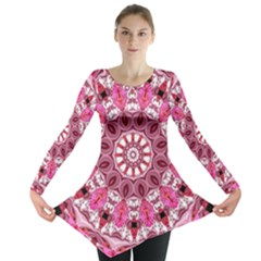 Twirling Pink, Abstract Candy Lace Jewels Mandala  Long Sleeve Tunic