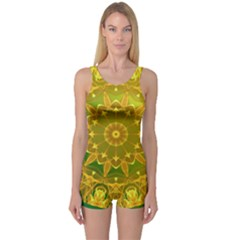 Yellow Green Abstract Wheel Of Fire One Piece Boyleg Swimsuit