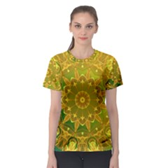 Yellow Green Abstract Wheel Of Fire Women s Sport Mesh Tee