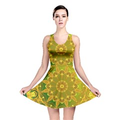 Yellow Green Abstract Wheel Of Fire Reversible Skater Dress