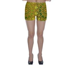 Yellow Green Abstract Wheel Of Fire Skinny Shorts