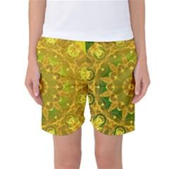 Yellow Green Abstract Wheel Of Fire Women s Basketball Shorts