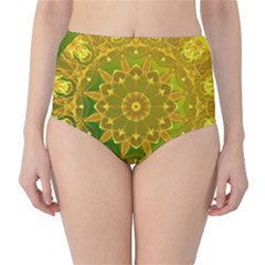 Yellow Green Abstract Wheel Of Fire High Waist Bikini Bottoms