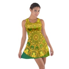 Yellow Green Abstract Wheel Of Fire Racerback Dresses