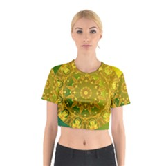Yellow Green Abstract Wheel Of Fire Cotton Crop Top