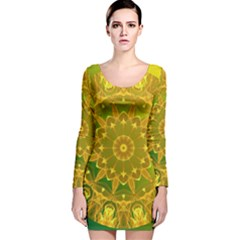 Yellow Green Abstract Wheel Of Fire Long Sleeve Velvet Bodycon Dress