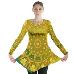 Yellow Green Abstract Wheel Of Fire Long Sleeve Tunic