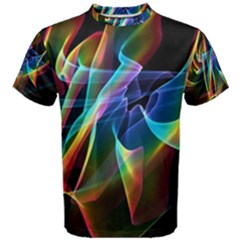 Aurora Ribbons, Abstract Rainbow Veils  Men s Cotton Tee by DianeClancy