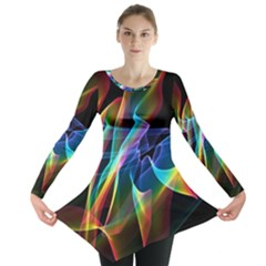 Aurora Ribbons, Abstract Rainbow Veils  Long Sleeve Tunic  by DianeClancy