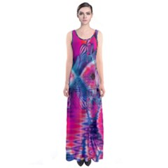 Cosmic Heart Of Fire, Abstract Crystal Palace Full Print Maxi Dress by DianeClancy