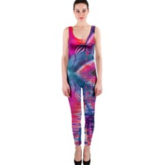 Cosmic Heart of Fire, Abstract Crystal Palace OnePiece Catsuit by DianeClancy