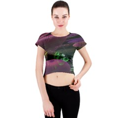Creation Of The Rainbow Galaxy, Abstract Crew Neck Crop Top by DianeClancy