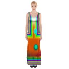 Crossroads Of Awakening, Abstract Rainbow Doorway  Maxi Thigh Split Dress by DianeClancy