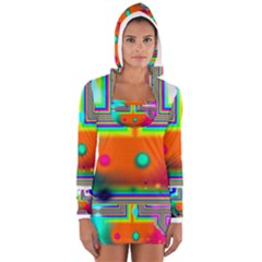 Crossroads Of Awakening, Abstract Rainbow Doorway  Women s Long Sleeve Hooded T Shirt