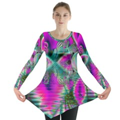 Crystal Flower Garden, Abstract Teal Violet Long Sleeve Tunic  by DianeClancy