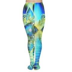 Crystal Lime Turquoise Heart Of Love, Abstract Women s Tights by DianeClancy