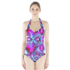 Crystal Northern Lights Palace, Abstract Ice  Women s Halter One Piece Swimsuit by DianeClancy