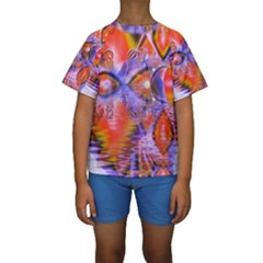 Crystal Star Dance, Abstract Purple Orange Kid s Short Sleeve Swimwear by DianeClancy