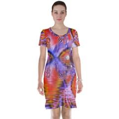 Crystal Star Dance, Abstract Purple Orange Short Sleeve Nightdress by DianeClancy