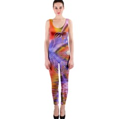 Crystal Star Dance, Abstract Purple Orange OnePiece Catsuit by DianeClancy