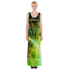 Dawn Of Time, Abstract Lime & Gold Emerge Maxi Thigh Split Dress