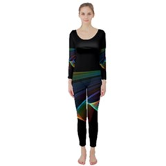 Flowing Fabric Of Rainbow Light, Abstract  Long Sleeve Catsuit by DianeClancy
