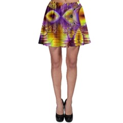 Golden Violet Crystal Palace, Abstract Cosmic Explosion Skater Skirt by DianeClancy