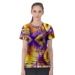 Golden Violet Crystal Palace, Abstract Cosmic Explosion Women s Sport Mesh Tee by DianeClancy