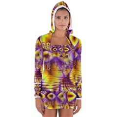 Golden Violet Crystal Palace, Abstract Cosmic Explosion Women s Long Sleeve Hooded T Shirt by DianeClancy