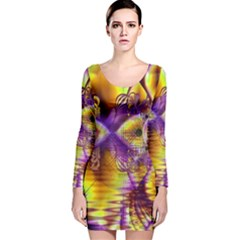 Golden Violet Crystal Palace, Abstract Cosmic Explosion Long Sleeve Velvet Bodycon Dress by DianeClancy