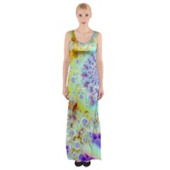 Golden Violet Sea Shells, Abstract Ocean Maxi Thigh Split Dress by DianeClancy