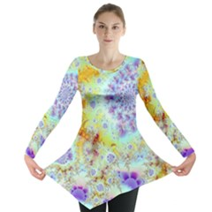 Golden Violet Sea Shells, Abstract Ocean Long Sleeve Tunic  by DianeClancy