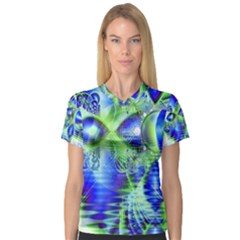 Irish Dream Under Abstract Cobalt Blue Skies Women s V Neck Sport Mesh Tee by DianeClancy