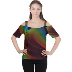 Liquid Rainbow, Abstract Wave Of Cosmic Energy  Women s Cutout Shoulder Tee by DianeClancy