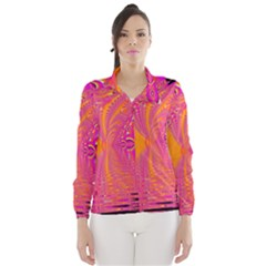 Magenta Boardwalk Carnival, Abstract Ocean Shimmer Wind Breaker (Women) by DianeClancy