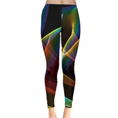 Peacock Symphony, Abstract Rainbow Music Leggings  by DianeClancy
